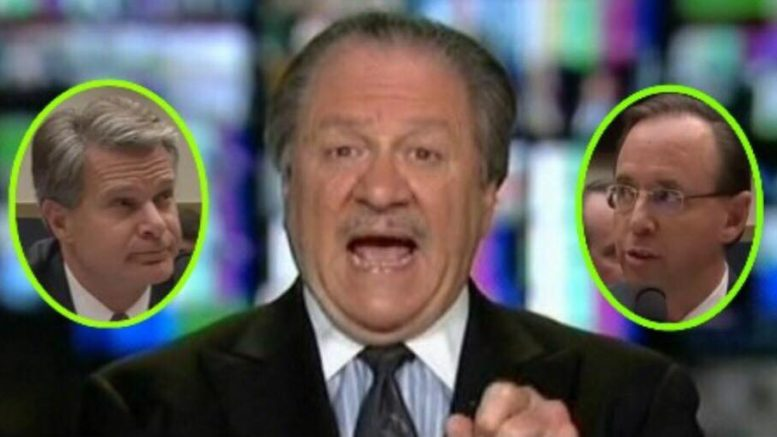 DiGenova calls out Wray and Rosenstein in an epic throw down on The Sean Hannity show. Image credit to US4Trump with screen capture compilation.