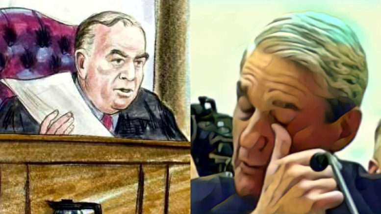 Day 4 of the Manafort Virginia Trial. Photo credit to US4Trump with (L) court photo and (R) screen grab enhancement.