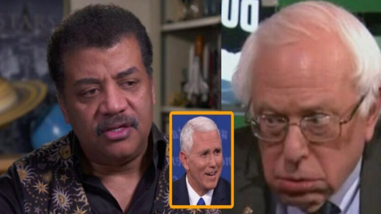 Space Force introduced and Bernie Sanders has melt down. Astrophysicist deGrasse supports Space Force. Photo credit to US4Trump with screen grab compilation.