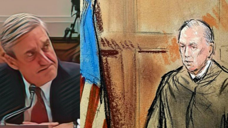 Team Mueller complains about the Judge in Manafort case. Photo credit to US4Trump compilation with (L) Enhanced Screen Grab (R) Reuters Sketch.