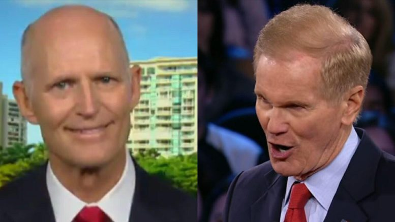 Democratic Senator falsely tells Florida was hacked by Russians. Photo credit to US4Trump compilation with Fox and CNN Screen Grabs.