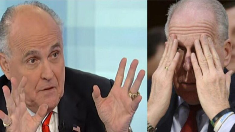 Giuliani responds to Brennan's lawsuit threat in an epic fashion! Photo credit to US4Trump compilation with Hannity Screen Grab, UPI.