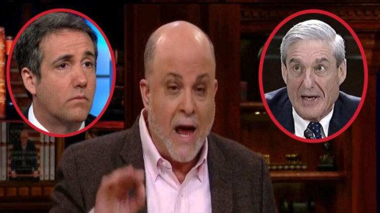 Mark Levin discusses the Cohen case on Sean Hannity. Photo credit to US4Trump enhanced compilation with screen captures.