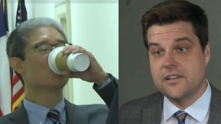 Matt Gaetz (R-CA) divulges information on the Ohr deposition. Photo credit to US4Trump with screen captures.