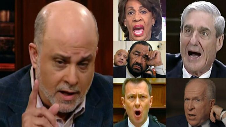 Mark Levin joined Sean Hannity Sunday evening and discussed impeachment. Photo credit to US4Trump compilation with screen captures.