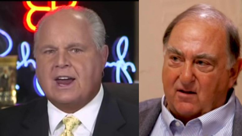 Rush Limbaugh brings Sara A. Carter's journalistic skills to the forefront on exposing the Obama-era FBI mole. Photo credit to US4Trump with screen grabs.