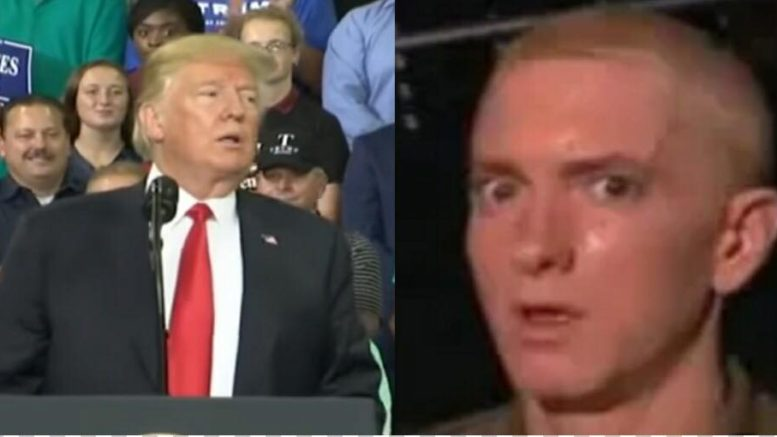 Eminem attacks the President in his lyrics on newly released album that no-one is buying. Photo credit to US4Trump with screen grabs.