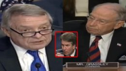 Senate Minority Whip Durbin admits coordination of the disruption during the Kavanaugh appointment hearing. Photo credit to US4Trump enhanced compilation with video screen shots.