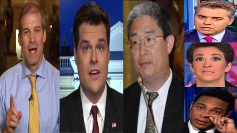 Jordan and Gaetz point to the circular reporting inside the FISA warrant. Photo credit to US4Trump compilation with Video Screen Shots, The Conservative Treehouse, Liberty Writers.