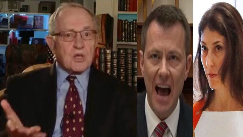 Dershowitz calls out newly released Strzok/Page texts. Photo credit to US4Trump compilation with screen shots.