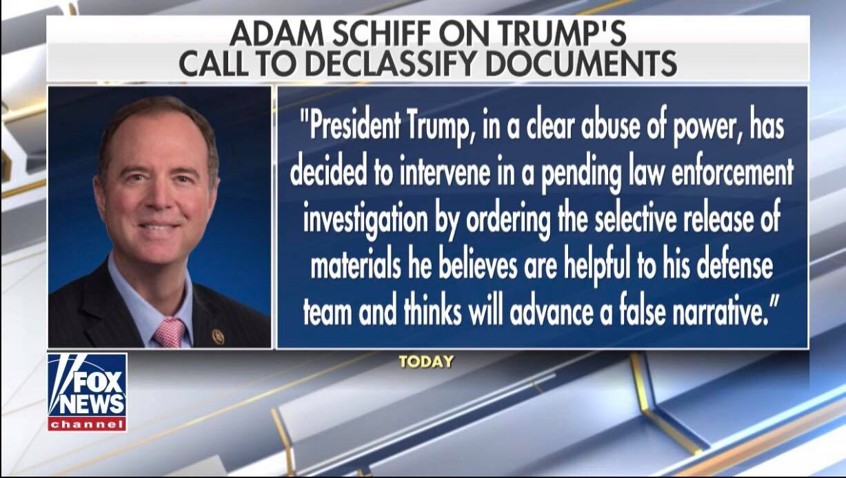 Schiff's formal statement on document release. Photo credit to US4Trump screen grab.