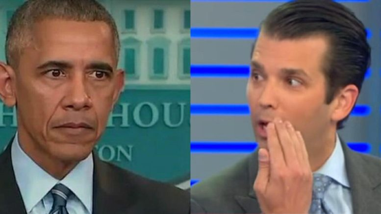 Don Junior responded on Brietbart radio regarding Barrack Hussein Obama's try at a 'comeback.' Photo credit to US4Trump compilation with Twitter, Screen Shots.