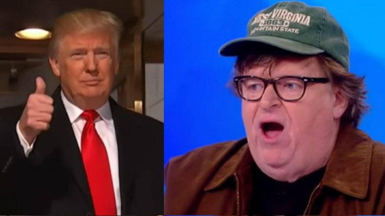 Michael Moore stated President Trump will win 2020 ahead of his film. Photo credit to US4Trump compilation with NBC Screen Grab, The View Screen Grab.