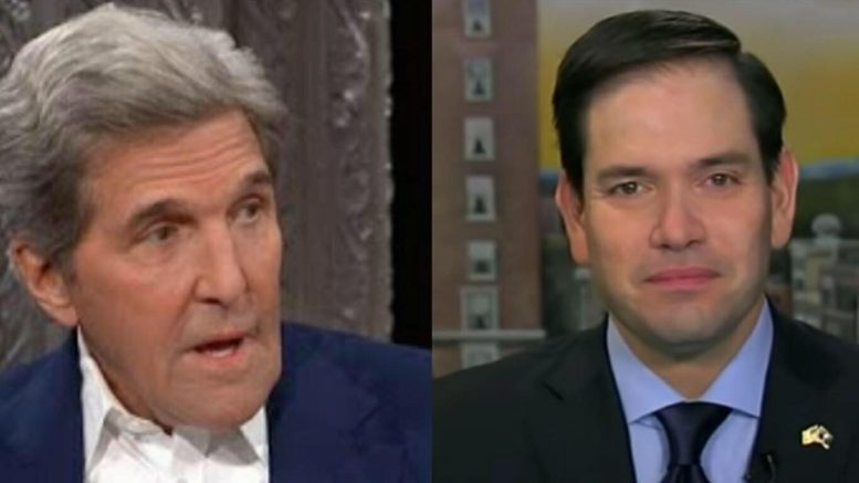 Marco Rubio (R-FL) contacts DOJ to look into former SOS Kerry's Iranian meetings. Photo credit to US4Trump with screen shots.