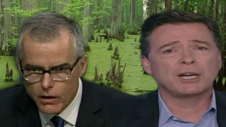 McCabe and Comey BLOCKBUSTER revelation of the tale of two FBI sets of books. Photo credit to US4Trump enhanced compilation with unisci24/Medium/TechCrunch (background), Screen Grabs.