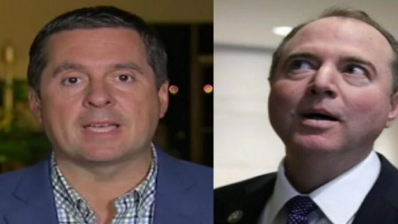 Devin Nunes weighed in on the Ingraham Angle regarding Schiff's response to the declassification of documents by POTUS. Photo credit to US4Trump compilation with screen grab and True Pundit.