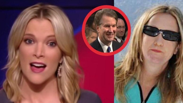 Megyn Kelly pivots and defends Kavanaugh. Photo credit to US4Trump compilation with Screen Grabs, ZeroHedge.