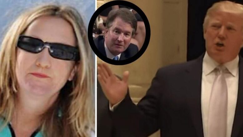 POTUS tweeted on the Kavanaugh accuser. Photo credit to US4Trump compilation with ZeroHedge, Screen Grabs.