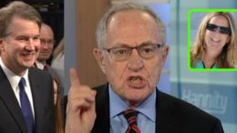 Alan Dershowitz spoke out about Kavanaugh's accuser. Photo credit to US4Trump compilation with Screen Grabs, ZeroHedge.