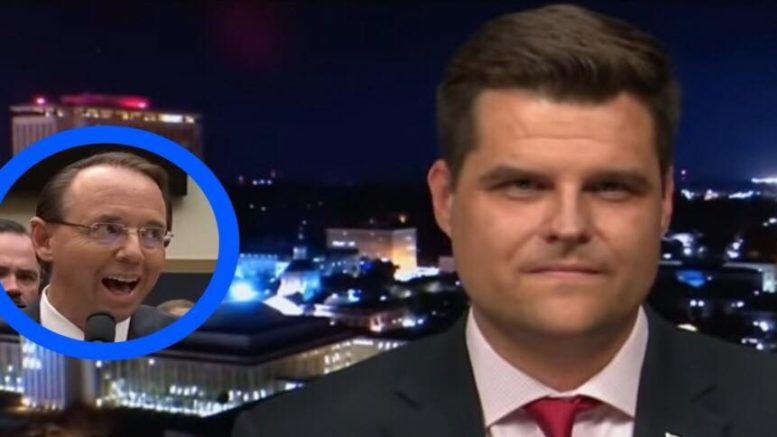 Matthew Gaetz calls for Congressional oversight on Rod Rosenstein. Photo credit to US4Trump compilation with screen grabs.