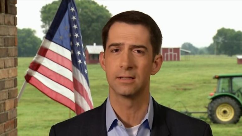 Tom Cotton (R-AR) spoke up in defense of Brett Kavanaugh. Photo credit to US4Trump with Face The Nation screen grab.