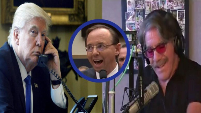 President Trump talked to Geraldo Rivera by telephone after the explosive betrayal to the Country by AG Deputy Rosenstein. Photo credit to US4Trump compilation with Image Source: Video Screen Shots & Scoopnest.