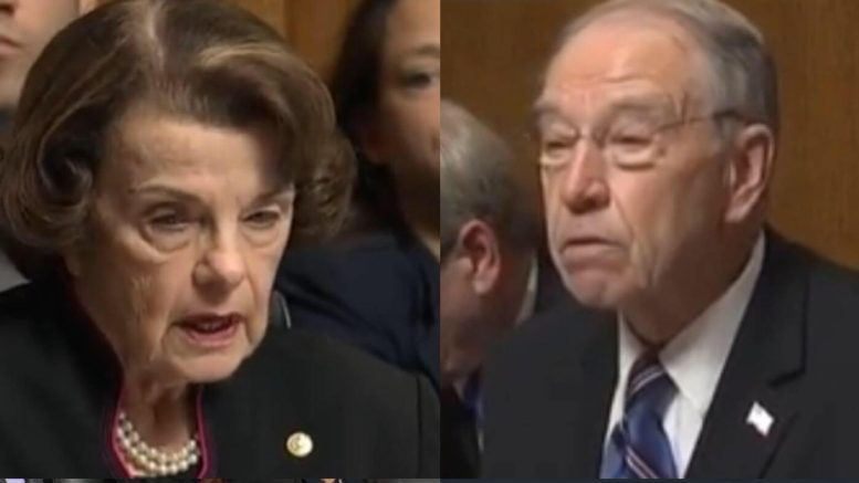 Chairman Chuck Grassley, Chairman of the Judiciary Committee opening statements on Dianne Feinstein's nefarious behavior. Photo credit to US4Trump compilation with screen captures.