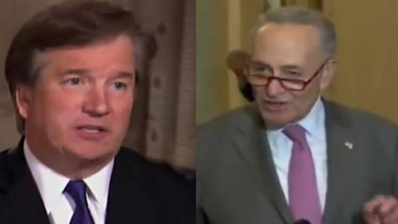 Chuck Schumer shreds the Constitution in favor of supporting qualified Supreme Court Justice nominee. Photo credit to US4Trump compilation with screen captures.