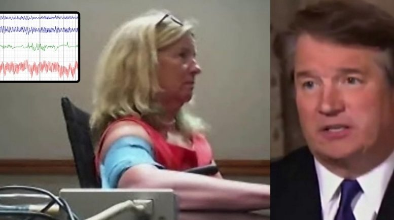 Ford's polygraph is released to public. She was not asked one critical question. Photo credit to US4Trump compilation with Christine Ford's legal team via New York Post (L), Fox screen shot (R), random Weebly graph (Inset).