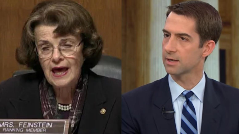 Senator Tom Cotton talks about the investigation launch on Senator Feinstein's office and more. Photo credit to US4Trump compilation with screen captures.