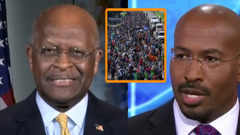 Herman Cain gets the best of CNN's Cooper and Jones with their conspiracy theory rhetoric. Photo credit to US4Trump compilation with screen shots.