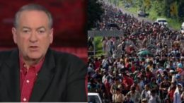 Mike Huckabee supports troops at border to stop invasion. Photo credit to US4Trump with video screen shots.