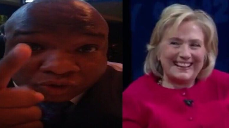 """Pastor Burns responded to Hilary after she makes racist """"joke"""". Photo credit to US4Trump compilation with screen shots."""