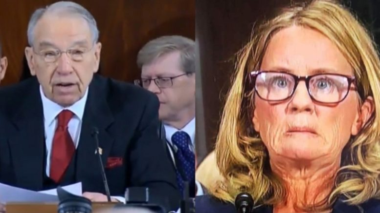 Grassley asks for key documents which careened Ford's testimony under oath. Photo credit to US4Trump compilation with screen shot, Reddit.