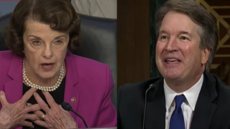 Feinstein signals to keep FBI results secret. Photo credit to US4Trump compilation with screen grabs.