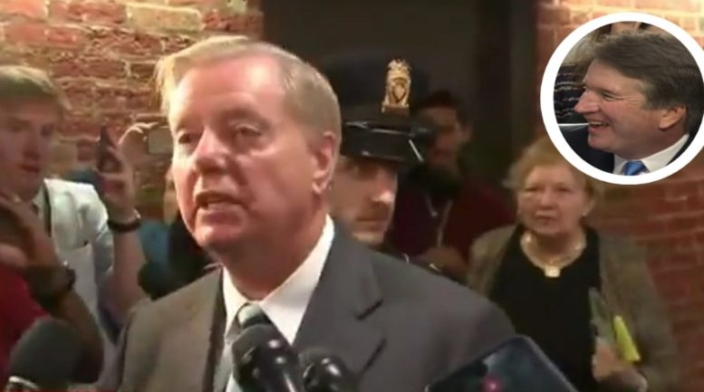 Lindsey Graham stopped protester in her tracks. Photo credit to US4Trump compilation with screen shots.