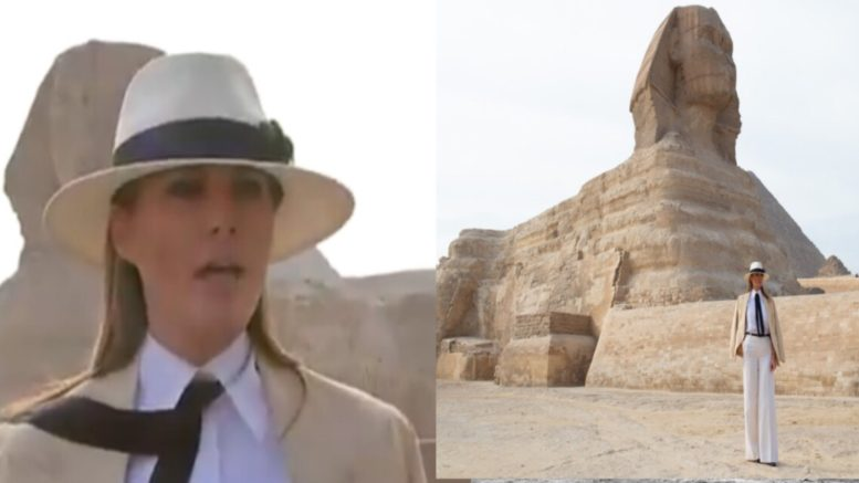 Melania spoke on Judge Kavanaugh vote from Egypt. Photo credit to US4Trump compilation with vid screen shot and twitter.