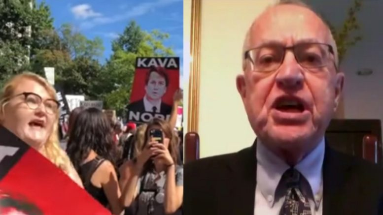 Professor Dershowitz rails against the Dem plot. Photo credit to US4Trump compilation with Turning Point Screen Shot, Fox Screen Shot.