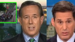 Santorum caused CNN commentator to go silent! Photo credit to US4Trump compilation with screen shots.