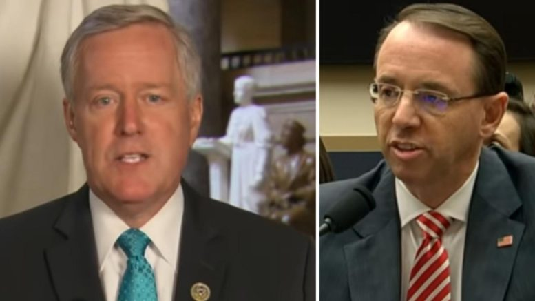Mark Meadows rips Rod Rosenstein. Photo credit to US4Trump compilation with screen shots.