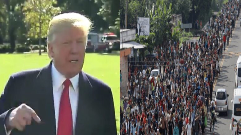 Trump tweets on invasion of illegal immigration migration. Photo credit to US4Trump compilation with video screen shots.