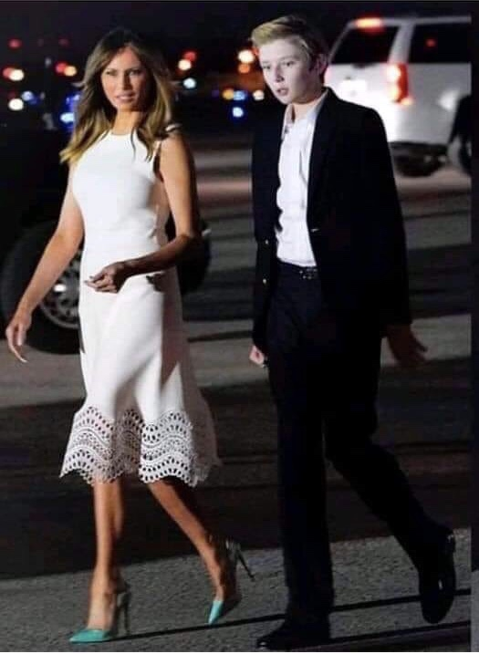 First Lady Melania Trump and First Son, Barron Trump arriving in Mar-A-Lago for Thanksgiving 2018. Photo credit to screen capture enhancement.