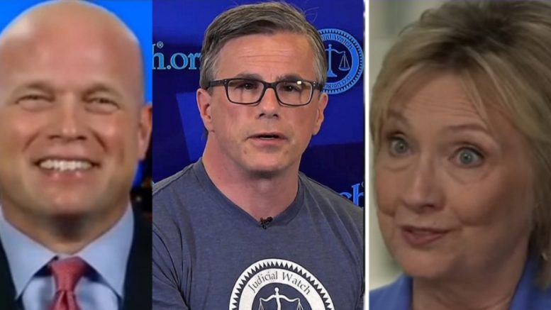Tom Fitton calls for investigation and prosection into Hillary Clinton email scandal. Photo credit to US4Trump with screen shots.