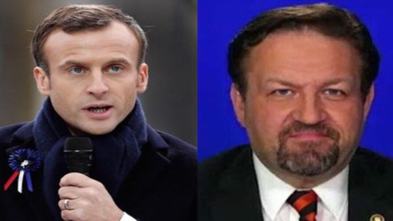 Gorka squares off with the globalist Macron in a battle of wits after political attack on Trump and America First agenda. Photo credit to US4Trump compilation with RTE & Screenshot.