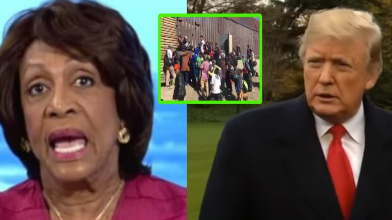 Maxine responded to border migrant invasion by attacking President Trump. Photo credit to US4Trump compilation with screen shots.