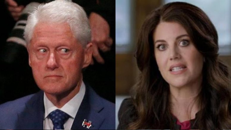 Monica Lewinsky has her #MeToo moment with Bill. Photo credit to US4Trump compilation with Twitter, A&E.
