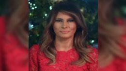 First Lady Melania Trump and the 2018 White House Republican RED Christmas Trees. Photo credit to US4Trump with Twitter screenshot.