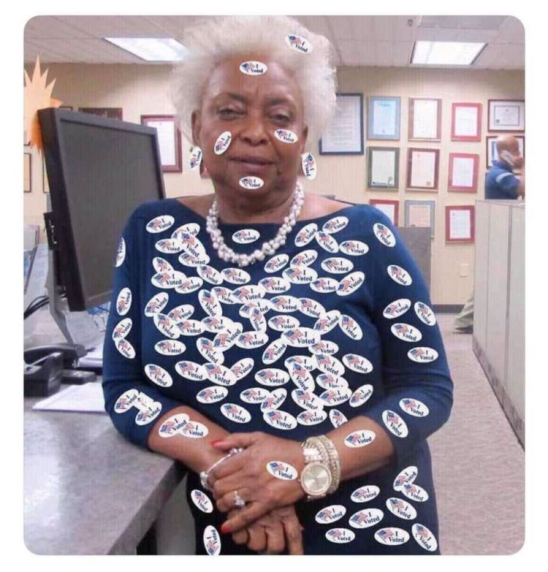"Brenda Snipes wearing ""I VOTED"" stickers. Unknown meme origin."