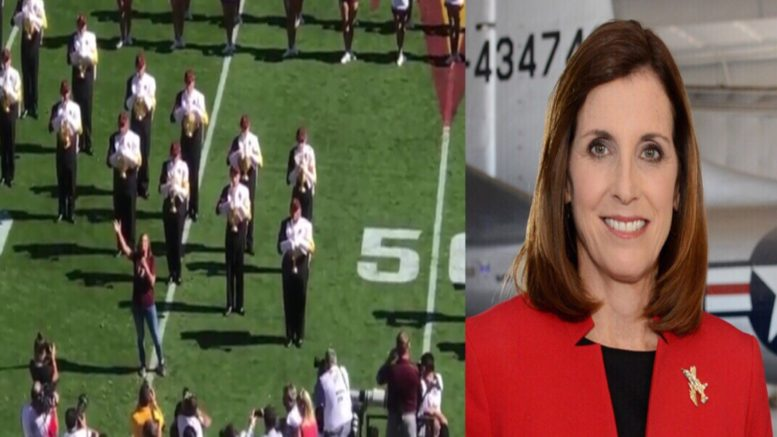Martha nails anthem during college game. Photo credit to US4Trump compilation with Video screen shot & McSally For Senate.