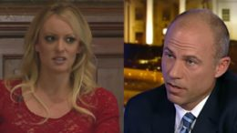 Stormy Daniels and Michael Avenatti at odds. Photo credit to US4Trump compilation with screen shots.